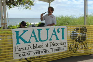 Kauai Marathon Ron Wiley of Kong Radio Announcing Finishers