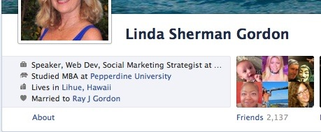 About link on timeline by Linda Sherman