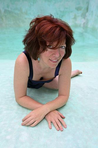 Photo of Clara Berta in her pool by Wm Marc Salsberry