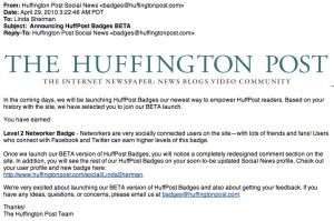 Huffington Post Launches Social Badges Beta