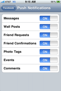 Where to Find Facebook iPhone App Push Notification Settings