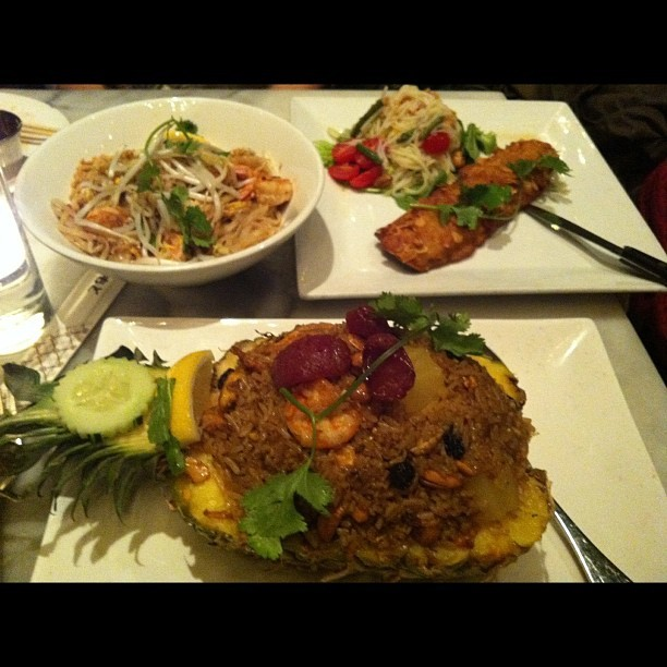 almond crusted trout, pad thai and pineapple shrimp fried rice