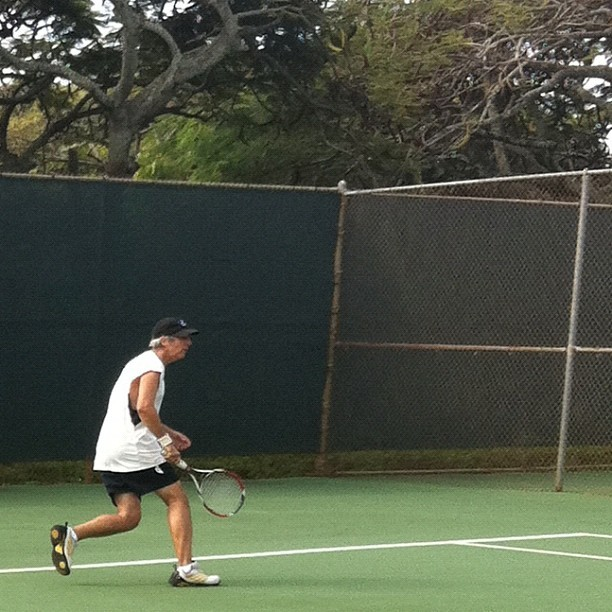 Ray Gordon Playing Tennis on Kauai