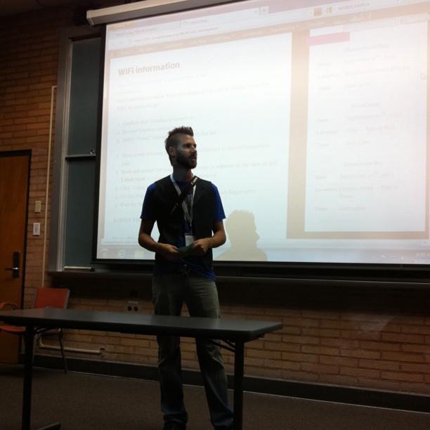 Austin Passy kicking off WordCamp LA 2011