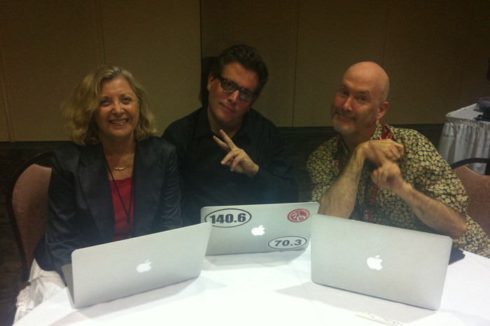 Linda Sherman Peter Shankman and Ric Dragon three MacBook Airs