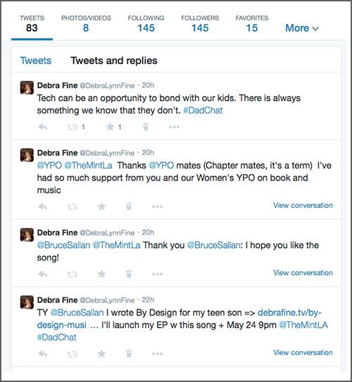 Tweets and Replies view screenshot by LindaSherman