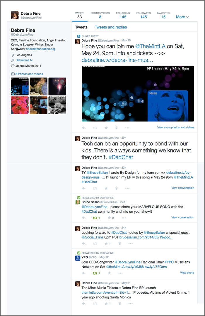 Tweets only view screenshot by LindaSherman