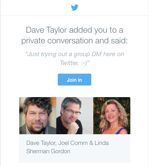 Twitter Group DM invite from DaveTaylor