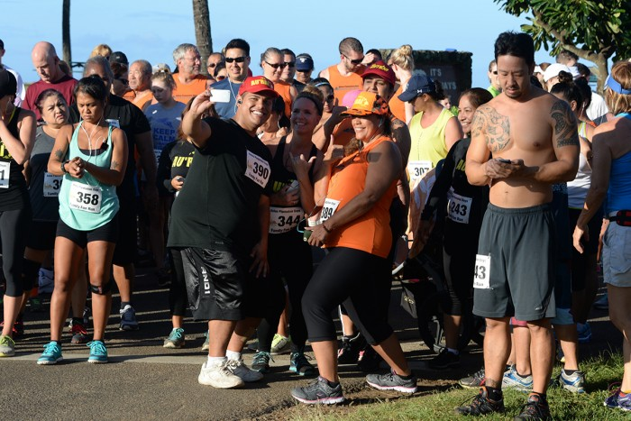 Selfie at starting line of charity 5K run. Photo by Ray Gordon
