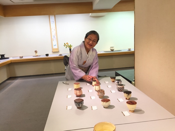 Mari with some of Richard's chawan or tea bowls with lids