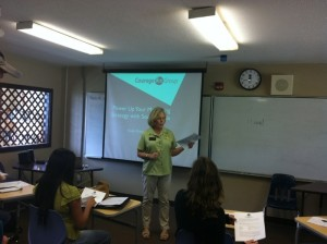 Linda Coble introducing Linda Sherman for Rotary Kauai Social Media Presentation