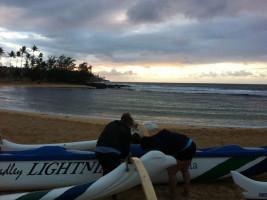 Adding skirt to outrigger canoe in kauai hawaii