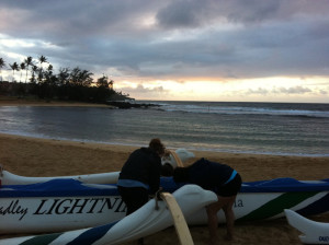 Adding skirt to outrigger canoe in kauai hawaii