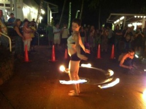Fire dancers added pizazz to the opening
